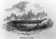 Chinook burial canoe, at mouth of Columbia River,  in engraving made 1839