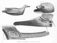 Nootka carvings including masks and rattle, Nootka Sound, British Columbia,  in engraving made 1778