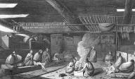 Nootka group in interior of house, Nootka Sound, British Columbia,  in engraving made 1778