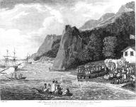 Nootka people watch launching of British boat from shore & canoes, Nootka Sound, British...