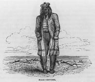 Nez Perce man, Old Fort Walla Walla on the Columbia River, Washington, in woodcut made 1841