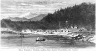Tlingit houses, canoes and totem poles seen from the water, Wrangell, Alaska, in engraving made...