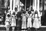 Skitswish girls in ceremonial dress, Desmet Idaho, 1937