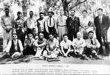 Colville Tribal Business Council poses in the shade of a tree, 1941
