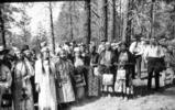 "Colville women pose in ceremonial dress, ""Ceremony of tears"", Kettle Falls, Washington,..."