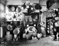Mrs. Fred Stimson's Indian baskets, Seattle, ca. 1900