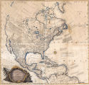 General Map of North America; In which is Express'd The several New Roads, Forts, Engagements,...