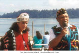 Hazel Denney and Ed Claplanhoo speaking at Neah Bay during Makah Days in 2004