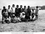 Children on a beach, probably on the Makah Indian Reservation