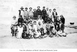 Group photo at bible school picnic, probably on the Makah Indian Reservation