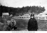 Margaret Allabush with sheep, probably on the Makah Indian Reservation