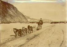 Dawsonites on an outing with a dogsled on the frozen Klondike River near the Klondike River...