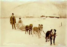 Mr. and Mrs. Laurence McCarty on their wedding tour of the Klondike Creeks by dogsled, Yukon...