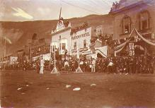 Pole vaulters on Front Street celebrating Victoria Day, Dawson, Yukon Territory, May 24, 1900.