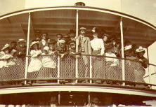 The Klondike Nugget excursion party on the deck of the steamboat PROSPECTOR on their trip from...