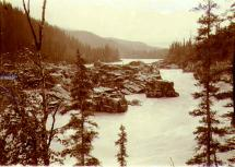 View below Fraser Falls on the Stewart River, Yukon Territory, ca. 1902.