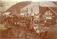 Parade in front of the Lancaster and Calderhead dock in celebration of Victoria Day, Dawson, Yukon...