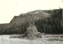 Pinnacle Rock  from aboard the steamboat PROSPECTOR travelling up the Pelly River, Yukon...