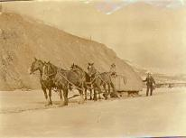 Hauling coal in a horse-drawn sled from a mine at Rock Creek to Dawson, Yukon Territory, ca. 1900.