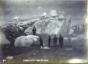 Excursion party at Muir Glacier standing in front of an iceberg, Alaska, ca. 1900.