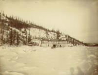 Steamboat ELDORADO caught in the ice on the Yukon River en route to Dawson from Whitehorse, Yukon...