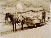 Horse and load tram car at Miles Canyon landing on the Yukon River, Yukon Territory, ca. 1899.