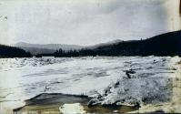 Ice jam at Five Finger Rapids in the Yukon River, Yukon Territory, ca. 1899.