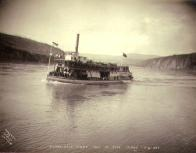 First trip up the Yukon River by the steamboat VICTORIAN, Yukon Territory, 1899.