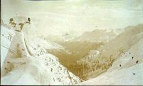 Aerial tramway covered with snow near the summit of White Pass, Alaska, ca. 1898.