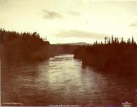Entrance to Miles Canyon on the Yukon River, Yukon Territory, ca. 1898.