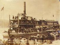 Steamboat VICTORIAN departing for Whitehorse, probably from Dawson, Yukon Territory, July 8, 1899.