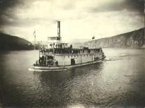 Steamboat COLUMBIAN leaving Dawson for Whitehorse, Yukon Territory, 1899.