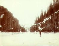 Miles Canyon  on the Yukon River frozen over in winter, Yukon Territory, ca. 1898.