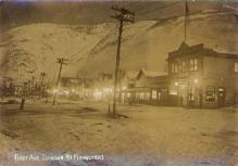 Front Street, Dawson, Yukon Territory, in the moonlight, ca. 1898.