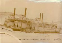 Steamboats COLUMBIAN (left), CANADIAN (center), and LOTTA TALBOT (right) in winter quarters,...