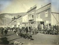 Dogteam in Front Street, Dawson, Yukon Territory, June 1899.