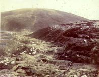 Panoramic view of Bonanza Creek and Gold Hill mining claims, Yukon Territory, ca. 1898.