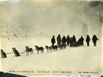 Dick Gardner's Circle City Express dogsled team on the frozen Yukon River, Yukon Territory, ca....