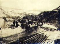 Horse drawn sleds en route from Dawson hauling freight to the mines for the Bartlett Bros., Yukon...
