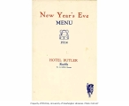 Hotel Butler New Year's Eve Menu, December 31, 1914