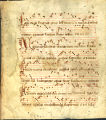 Breviary leaf, with music:  Feast of Corpus Christi, Antiphons for Lauds (Beals 24 verso)