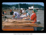 Women preparing food during a salmon bake at Makah Indian Reservation