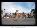Men dancing during an event at Makah Indian Reservation