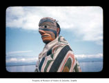 Charlie Swan wearing a mask at Makah Indian Reservation
