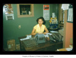 Esther Barber in an office at Makah Indian Reservation