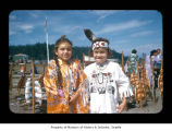 Cynthia Thompson and Marilyn Soneke during a ceremony at Makah Indian Reservation