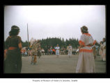 Charlie Swan with dancers during an event at Makah Indian Reservation