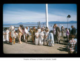 People during a ceremony at Makah Indian Reservation