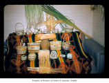 Agnes Penn basket collection probably in a house on the Quileute Indian Reservation