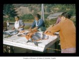 Nora  Barker and Ruth Swan preparing salmon at Makah Indian Reservation